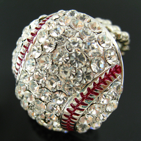 Crystal Baseball Stretch Ring<br>LESS THAN 8 LEFT!