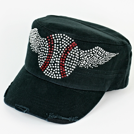 Crystal Baseball Wings Women's Black Cadet Hat