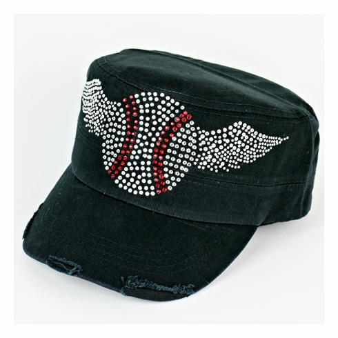 Crystal Baseball Wings Women's Black Cadet Hat<br>LESS THAN 3 LEFT!