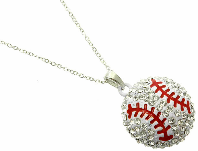 "Crystal Baseball with Red Stitches 18"" Necklace"