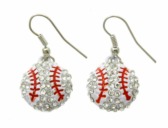 Crystal Baseball with Red Stitches Dangle Hook Earrings<br>SOLD OUT!