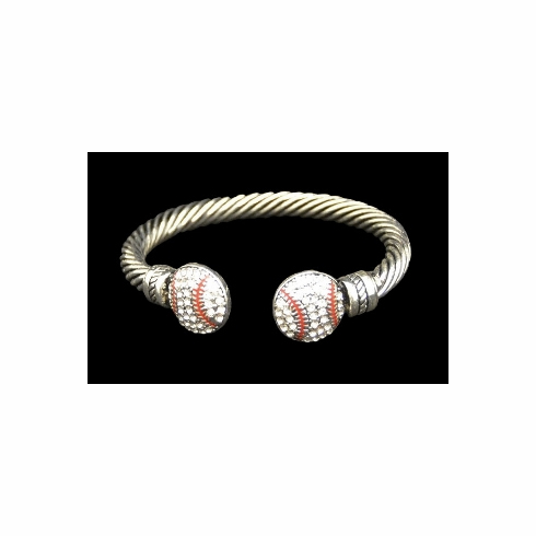 Crystal Baseballs Single Bar Cuff Bracelet