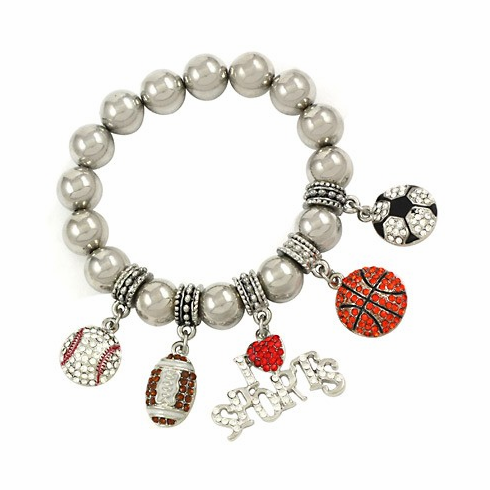 Crystal I Love Sports Stretchy Charm Bracelet<br>ONLY 1 LEFT!