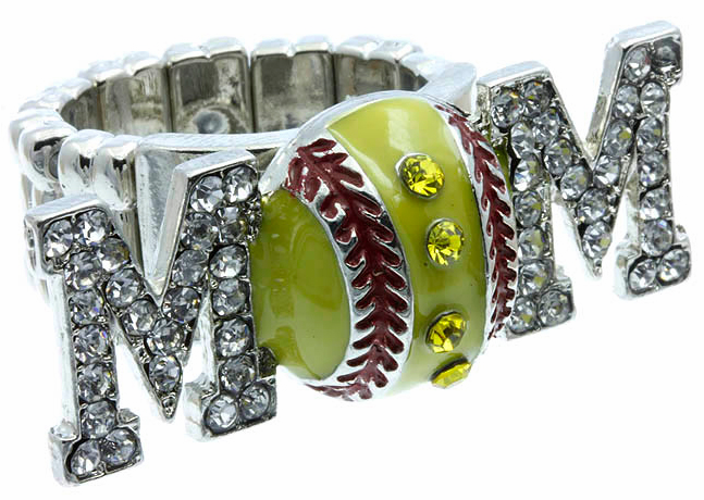 Crystal Softball Mom Stretchy Ring