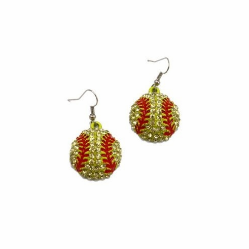 Crystal Softball with Red Stitches Dangle Hook Earrings