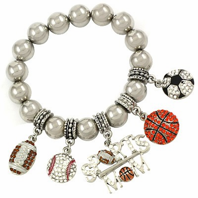 Crystal Sports Mom Stretchy Charm Bracelet<br>ONLY 2 LEFT!