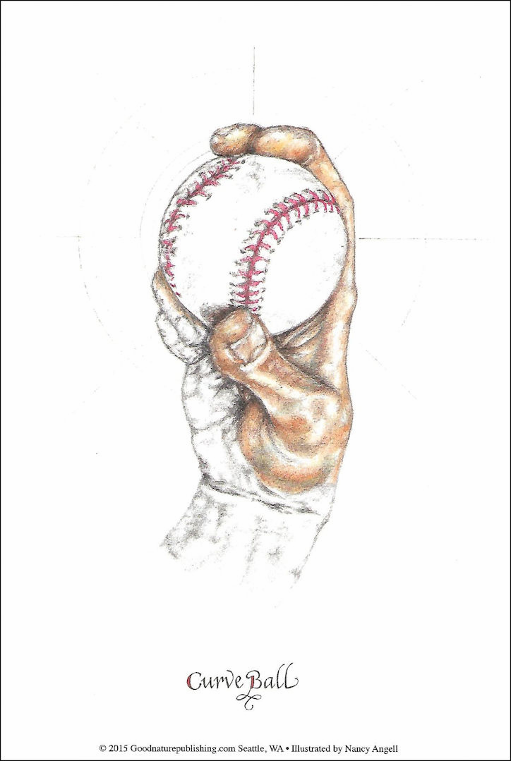 """Curve Ball"" Baseball 6x9 Print"