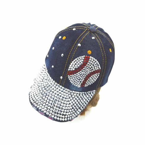 Dark Denim Crystal Baseball Bling Hat<br>LESS THAN 6 LEFT!