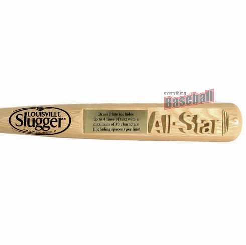 "Deep-Carved Louisville Slugger Baseball All-Star 34"" Trophy Bat with Free Bat Holders"