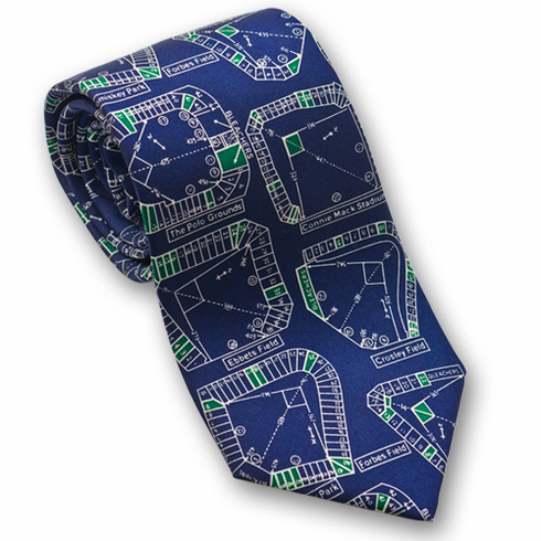 Demolished Stadiums Men's Silk Baseball Tie