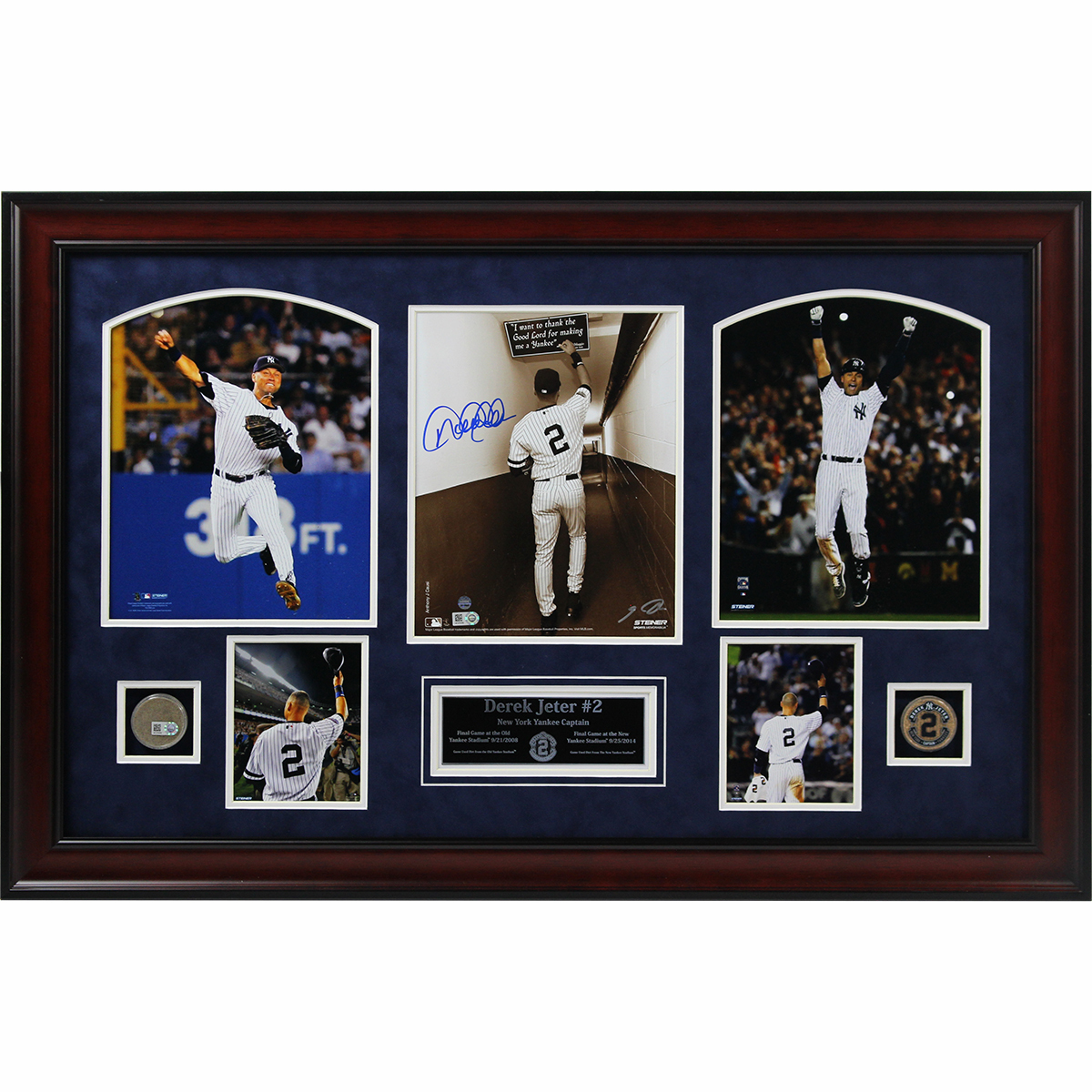 Derek Jeter 2 Final Games 18x29 Framed Collage with Signed 8x10 and Game Used Dirt