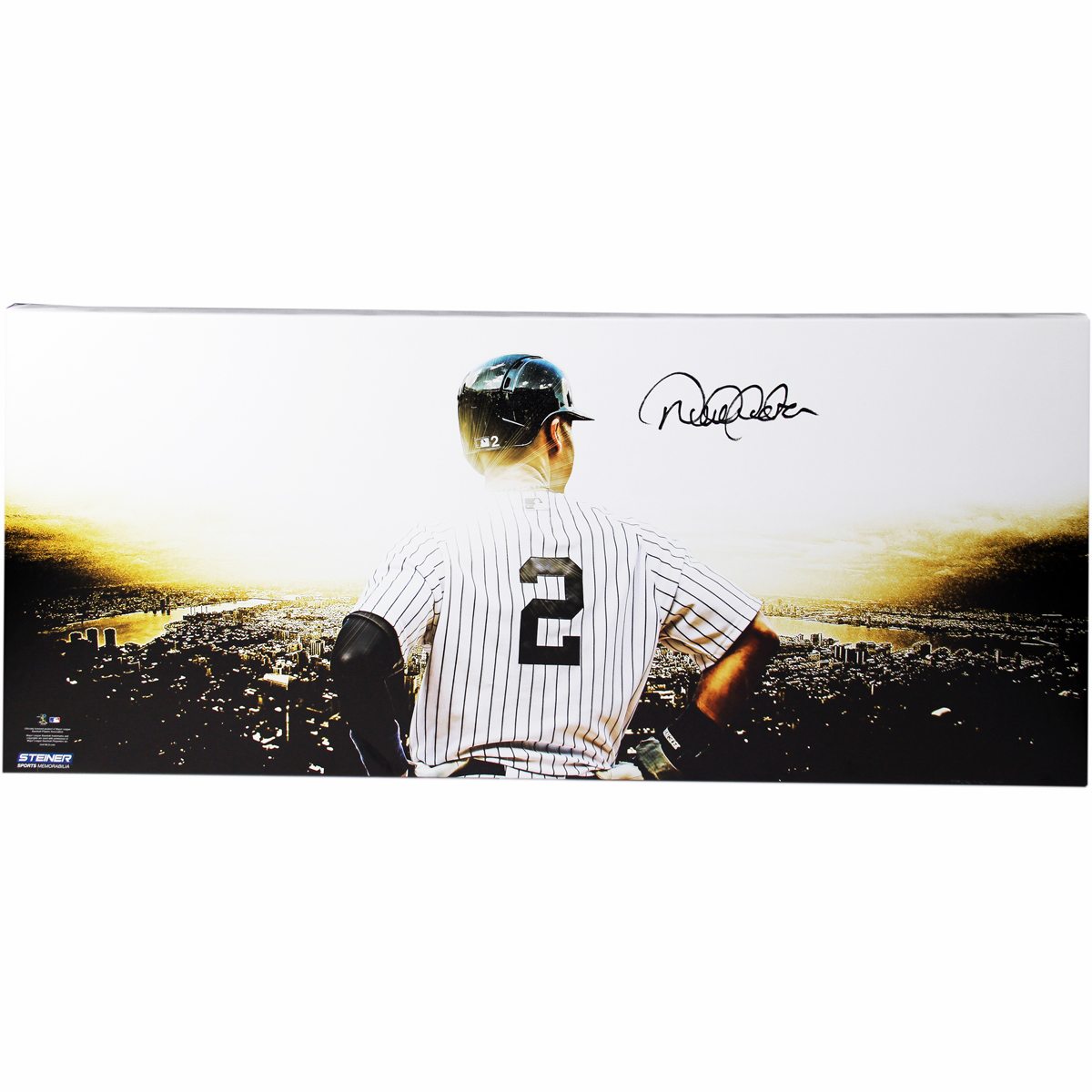 Derek Jeter Autographed 'Overlooking New York City' Big Sig 24x55 Stretched Canvas