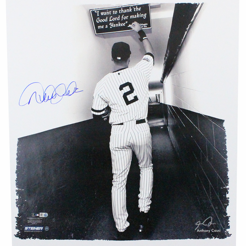 Derek Jeter Autographed 'Tunnel Right Hand Touching Quote' 22x26 Canvas