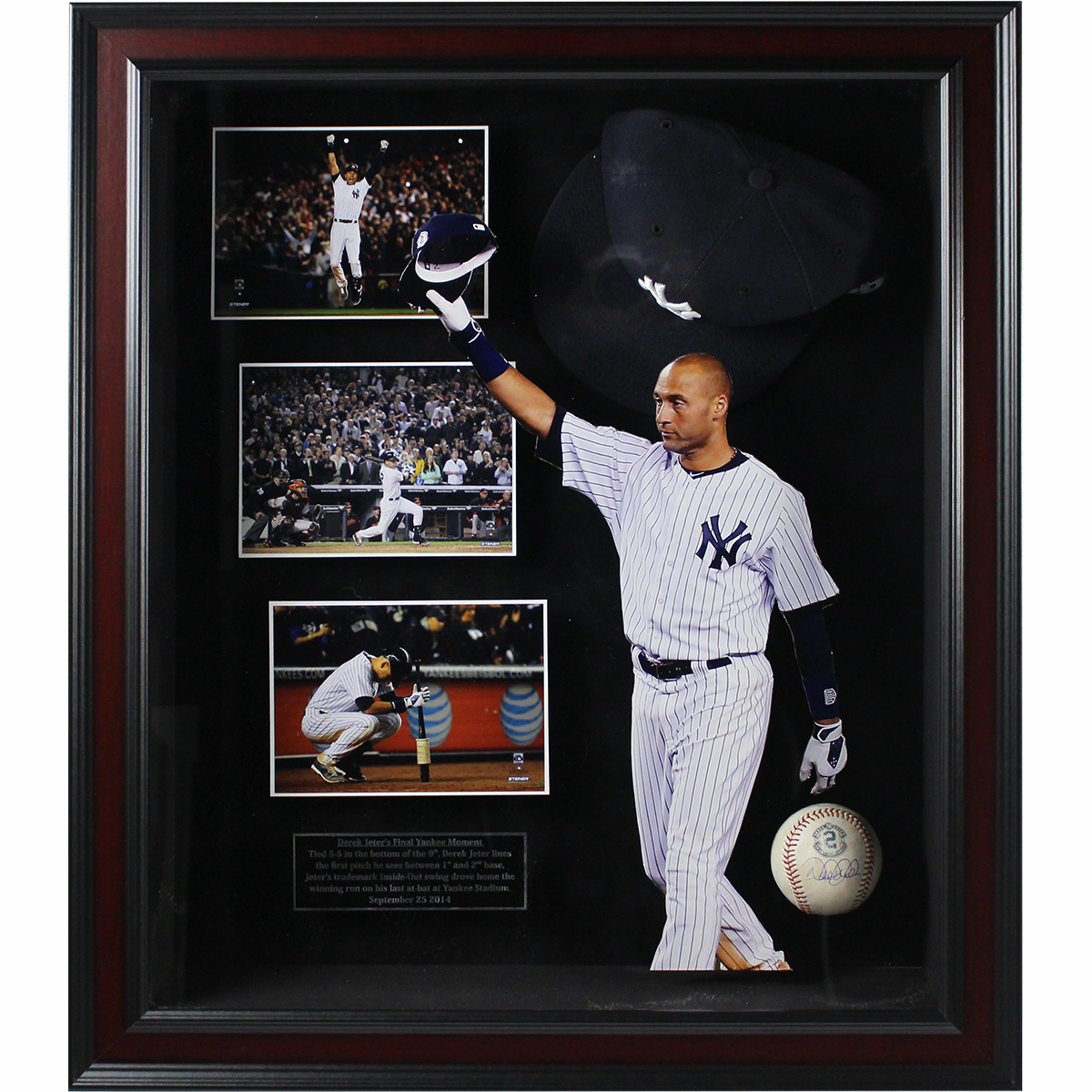 Derek Jeter Final Game at Yankee Stadium 20x24 Framed Shadowbox w Signed Game Used 2014 Baseball and Commemorative Hat