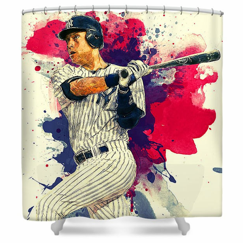 Derek Jeter New York Yankees Artistic Baseball Shower Curtain