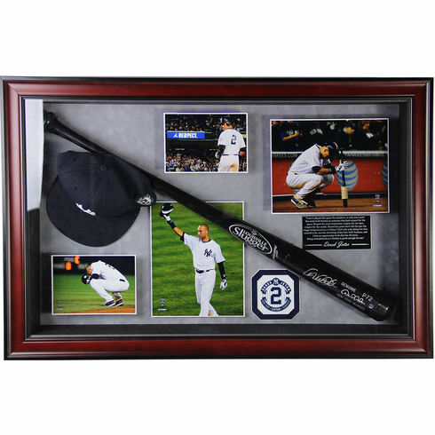 Derek Jeter Signed Game Model Bat 20x32 Framed Collage with Photos, Hat and Quote