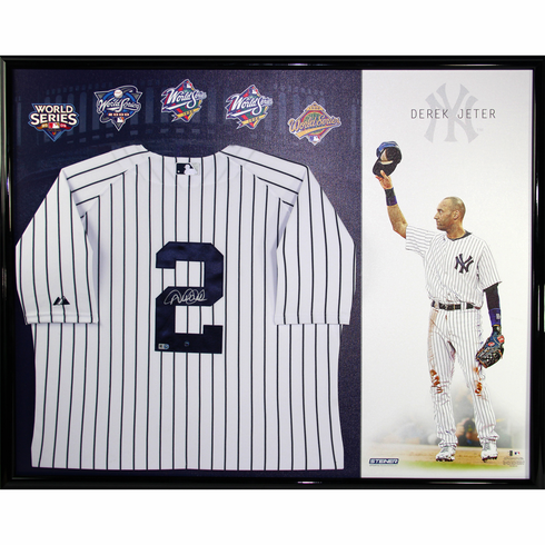 Derek Jeter Signed New York Yankees Home Jersey 32x40 Framed w Career Tribute Canvas Background