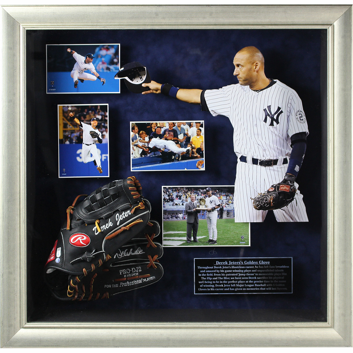 Derek Jeter Signed Rawlings Fielding Glove 24x24 Framed Collage LE of 22