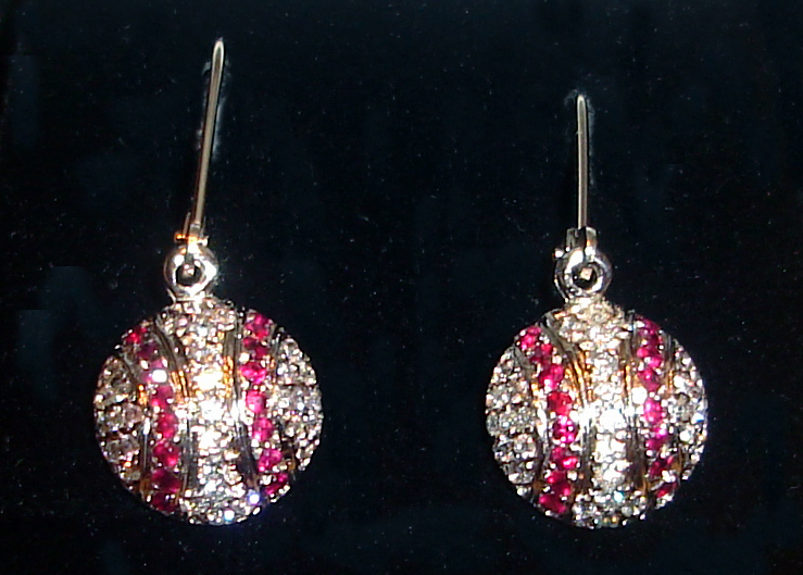 Diamond and Ruby Baseball Earrings