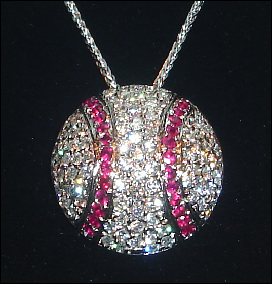 Diamond and Ruby Baseball Necklace