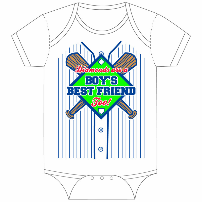 Diamonds are a Boy's Best Friend Too Baseball Onesie