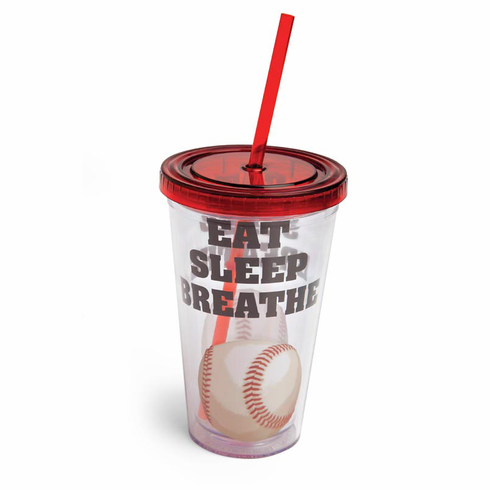 Eat Sleep Breathe Baseball 17oz Insulated Cup w/Straw<br>ONLY 1 LEFT!