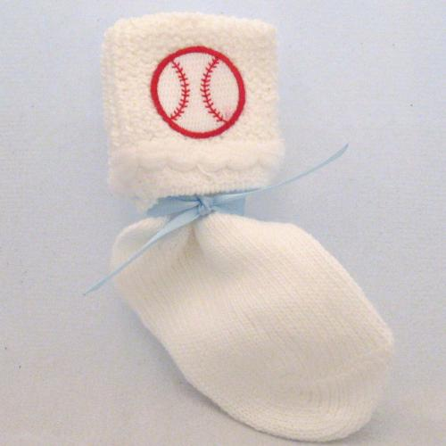 Embroidered Baseball White Baby Socks