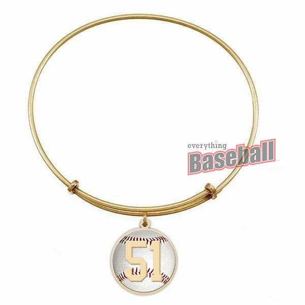 Expandable Bracelet with Round Baseball Sports Number Charm<br>GOLD or SILVER