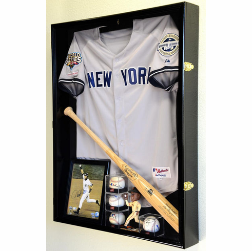 Extra Deep Jacket, Uniform, Jersey Shadow Box Display Case Cabinet w/ UV Protection<br>4 WOOD COLORS!