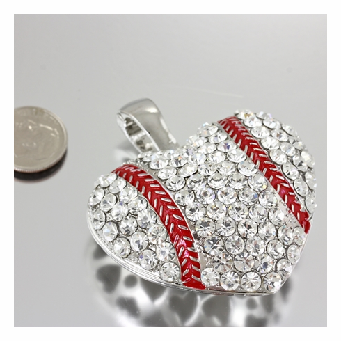 Extra Large Crystal Baseball Heart Cubic Pendant<br>VERY BIG!