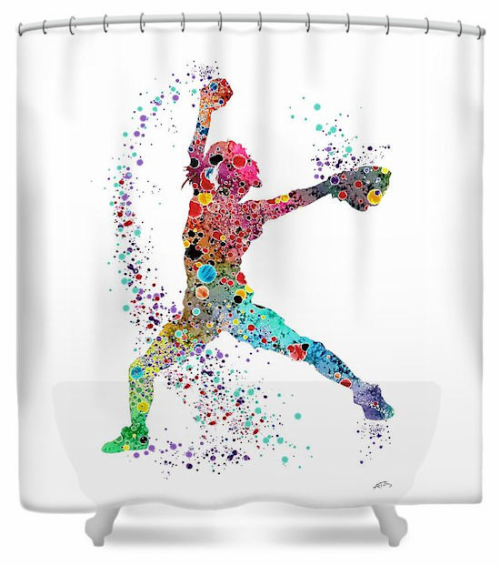 Fastpitch Softball Pitcher Shower Curtain