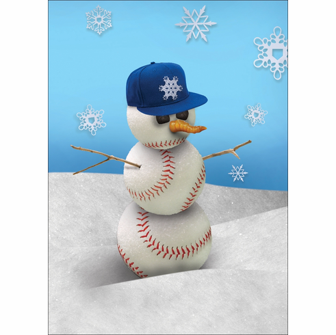 """Flat Bill Cap"" Baseball Snowman Holiday Cards<br>PRE-ORDER NOW FOR EARLY NOVEMBER DELIVERY!"
