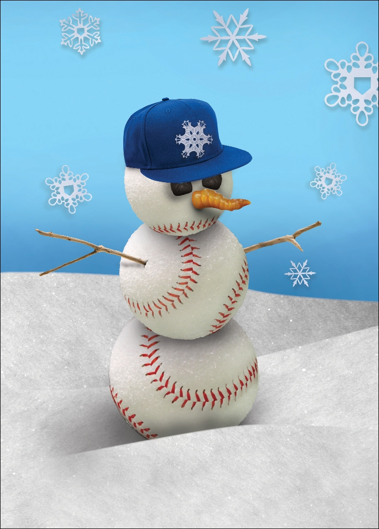 """Flat Bill Cap"" Baseball Snowman Holiday Cards"