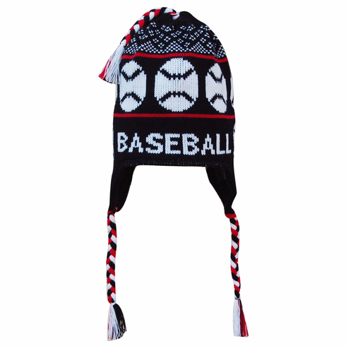 Fleece Lined Knit BASEBALL Hat Black/Red<br>ONLY 1 LEFT!