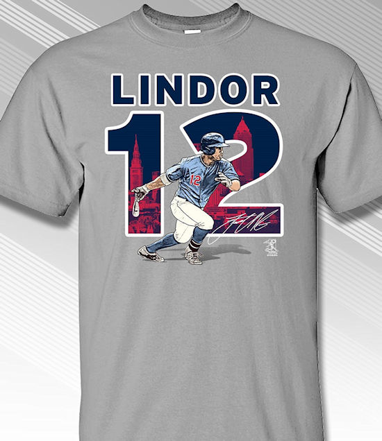 Francisco Lindor #12 Comic Hero T-Shirt<br>Short or Long Sleeve<br>Youth Med to Adult 4X