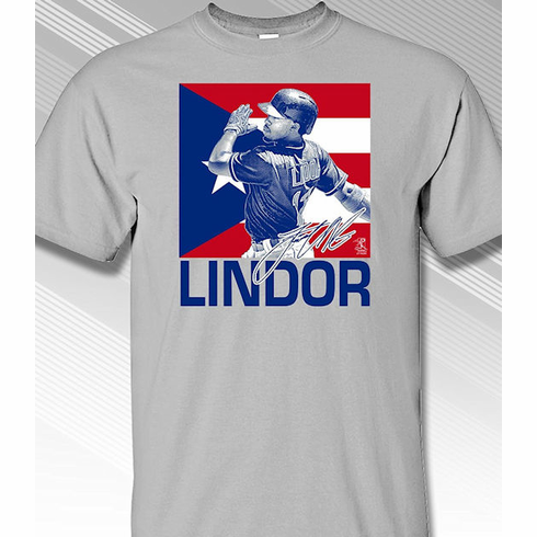 Francisco Lindor Puerto Rico Flag T-Shirt<br>Choose Your Color<br>Short or Long Sleeve<br>Youth Med to Adult 4X