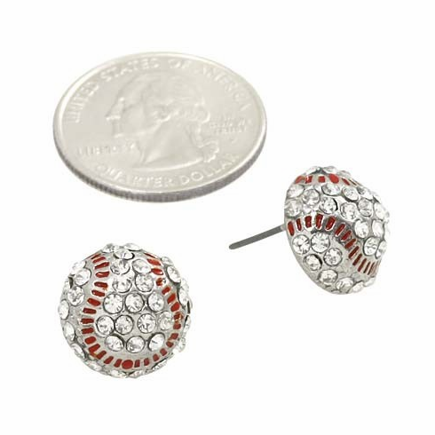 Fresh Crystal Baseball Post Earrings