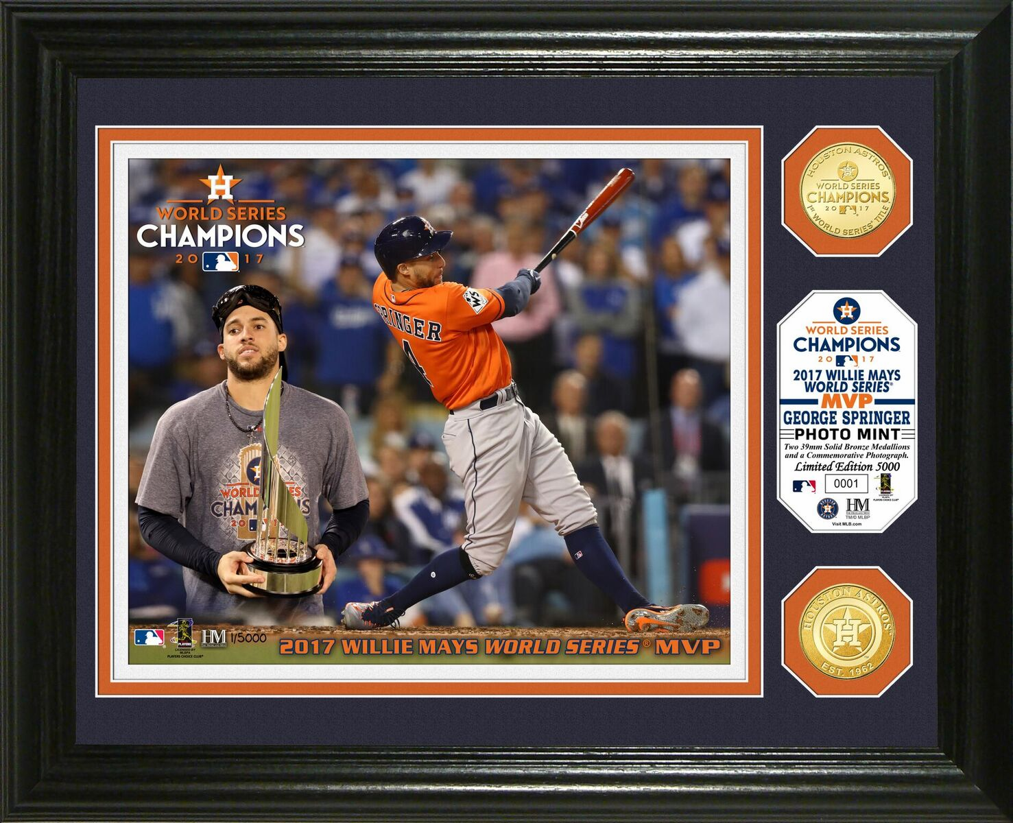 "George Springer Houston Astros 2017 World Series ""MVP"" Bronze Coin Photo Mint"