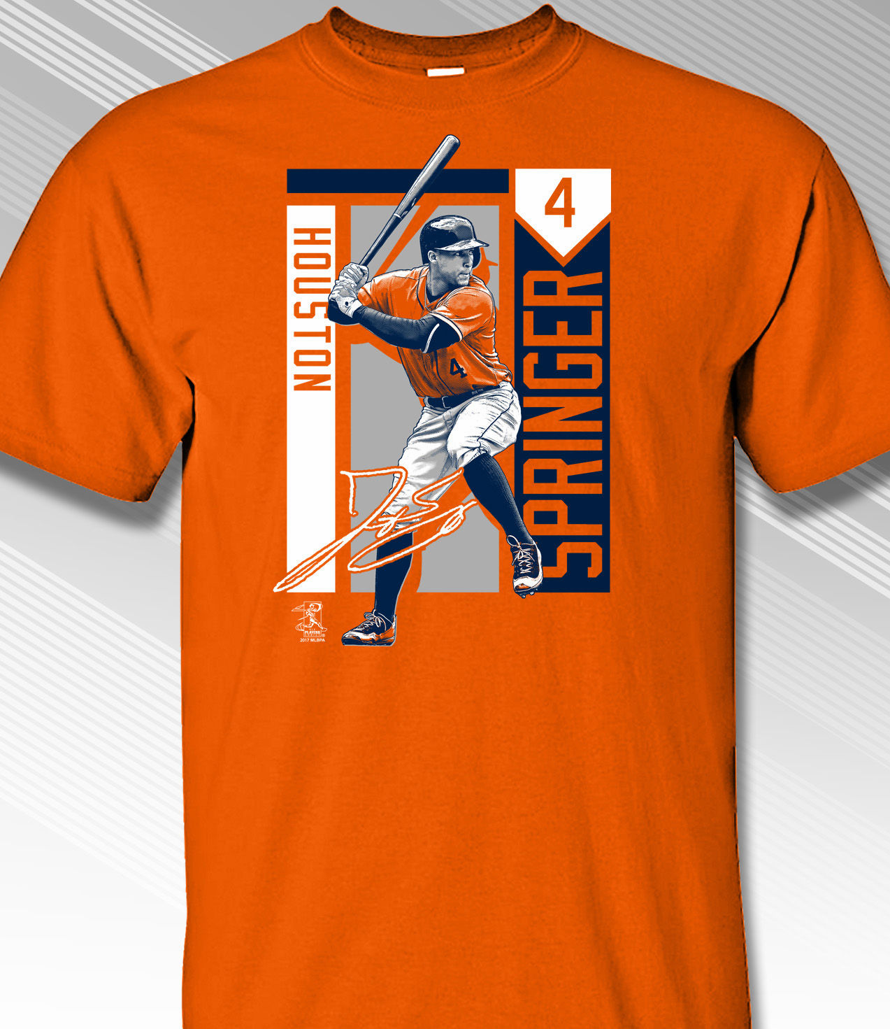 George Springer Houston Colorblock T-Shirt<br>Orange or Navy Blue<br>Short or Long Sleeve<br>Youth Med to Adult 4X