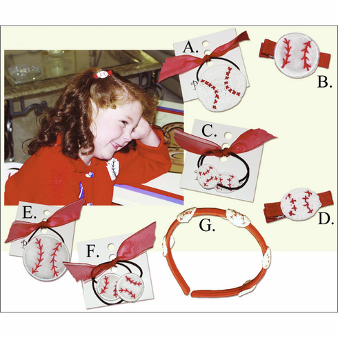 Girls Baseball Hair Accessories<br>Pony Single or Headband