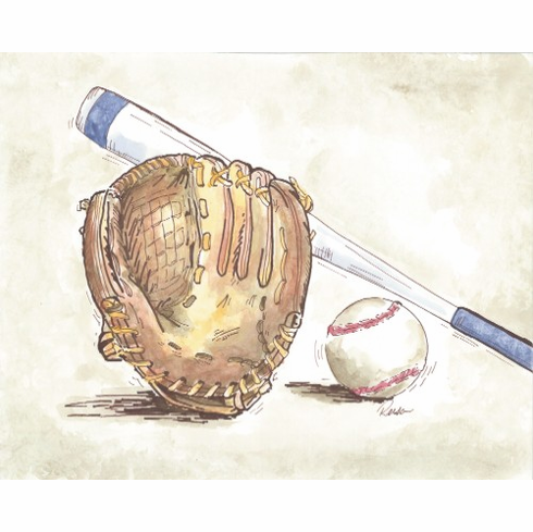 Glove, Baseball and Bat Art