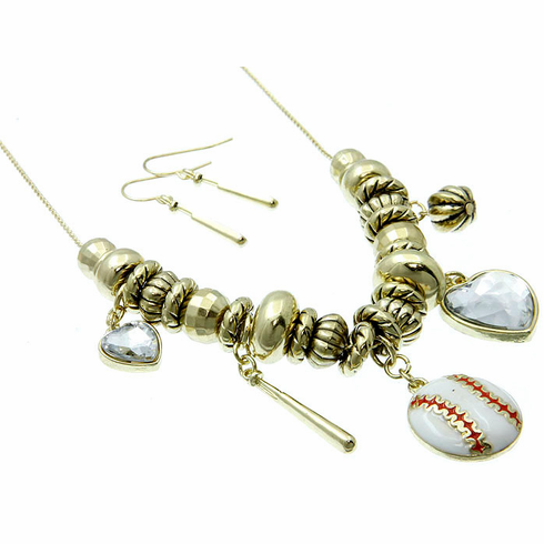 Gold Baseball Necklace and Earring Set<br>ONLY 1 SET LEFT!