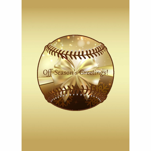 Gold Baseball Holiday Cards<br>6 PACK MINIMUM!