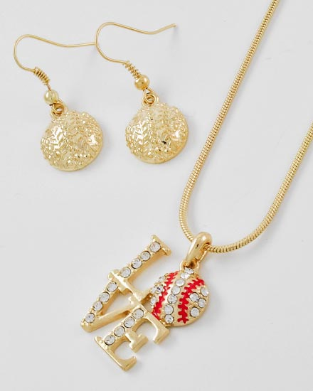 "Gold Crystal Baseball Love Pendant with 18"" Necklace and Matching Dangle Earrings"