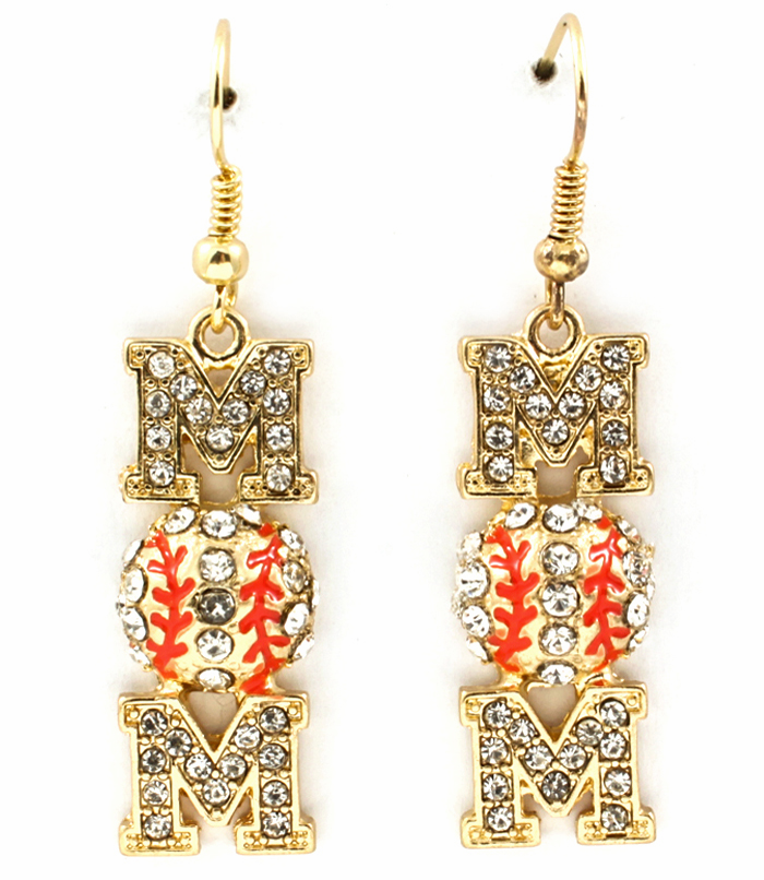 Gold Crystal Vertical Baseball Mom Dangle Hook Earrings