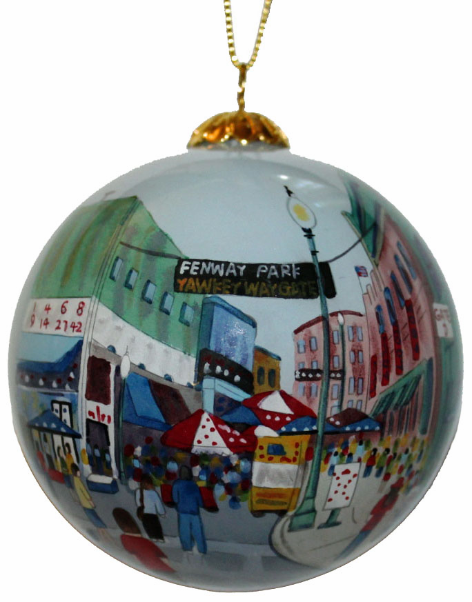 Hand Painted Yawkey Way Glass Ornament<br>ONLY 1 LEFT!