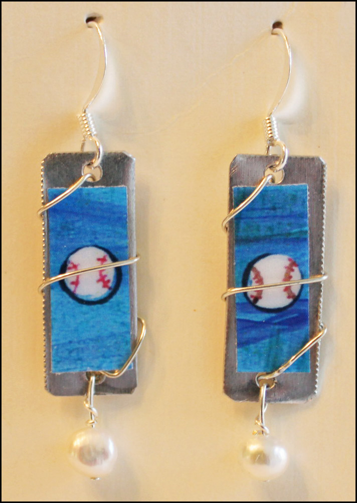 Handmade Baseball Art Dangle Earrings