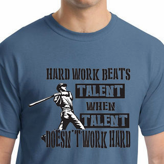 Hard Work Beats Talent Baseball T-Shirt<br>Choose Your Color<br>Youth Med to Adult 4X