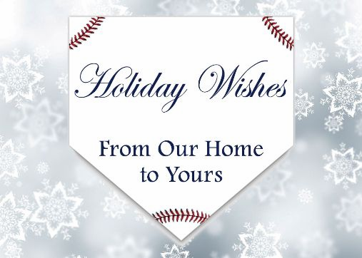 Personalized Home Plate Baseball Holiday Cards<br>5 PACK MINIMUM!