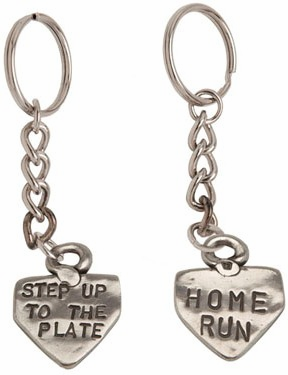 Home Plate Sculpted Pewter Key Chain